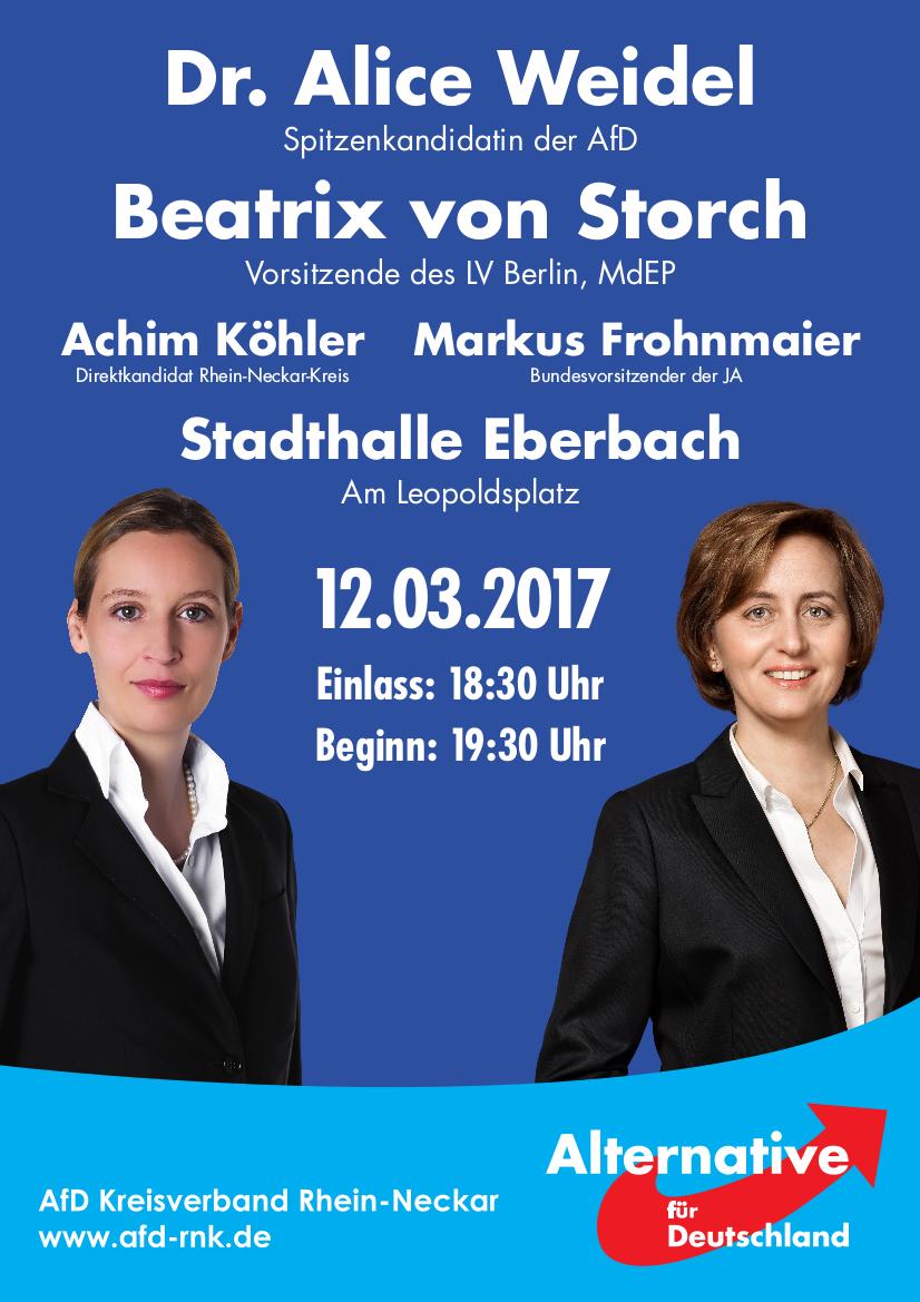 Großveranstaltung Eberbach: Weidel, von Storch, Frohnmaier