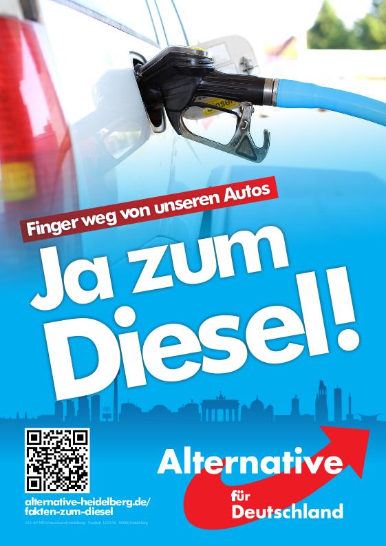 Finger weg von unseren Autos, Ja zum Diesel. Plakat Bundestagswahl 2017