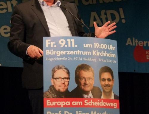 """""""Migrationspakt nicht im deutschen Interesse"""" – AfD-Großveranstaltung im Heidelberger Süden mit Prof. Dr. Jörg Meuthen"""